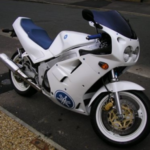 Blue and White Yamaha