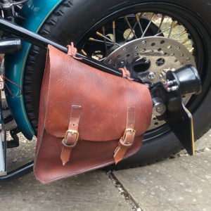 Retro Leather Pannier for a Custom Bike
