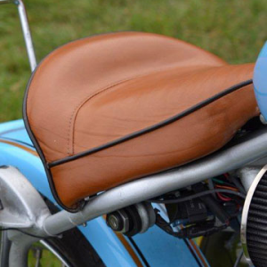 Tan Piped Seat for a Blue Retro Chopper